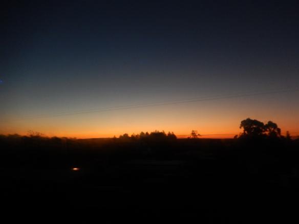 Sunset, between Puerto Iguazu and Buenos Aires, Argentina