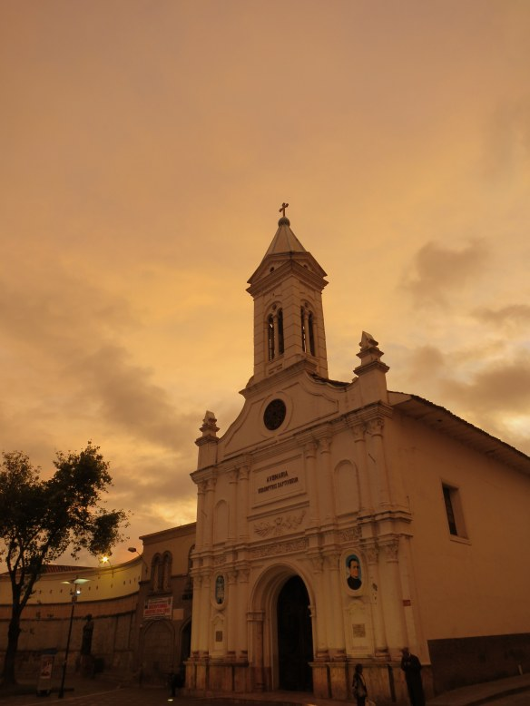 I don't remember what church this was, just that I was struck by the sunset making it glow