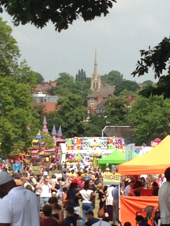 That's an English place--bouncy castles, food tents, church spires