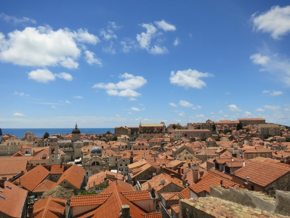Red rooftops, blue sky