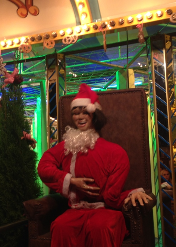 Clearly a repurposed animatronic 'come on the ride' caller, but he made for a really creepy Santa