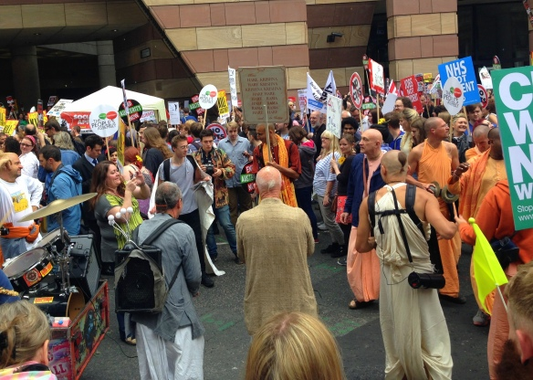 Hare Krishnas got everyone in a festive mood while we waited for the march to start