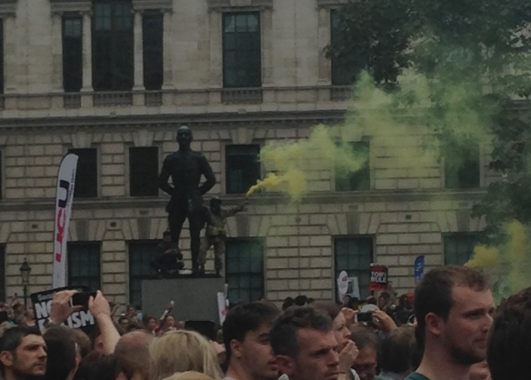 Not sure what the smoke bombs were about, but there were different colors throughout the march