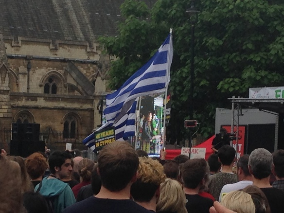 Greek flags at the ready