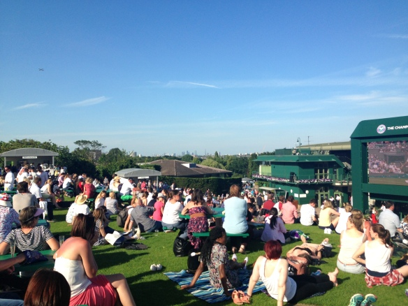 Henman Hill or Murray Mound, depending on what generation you are. A place to sit and watch whatever match is deemed exciting enough to be put on the big screen.