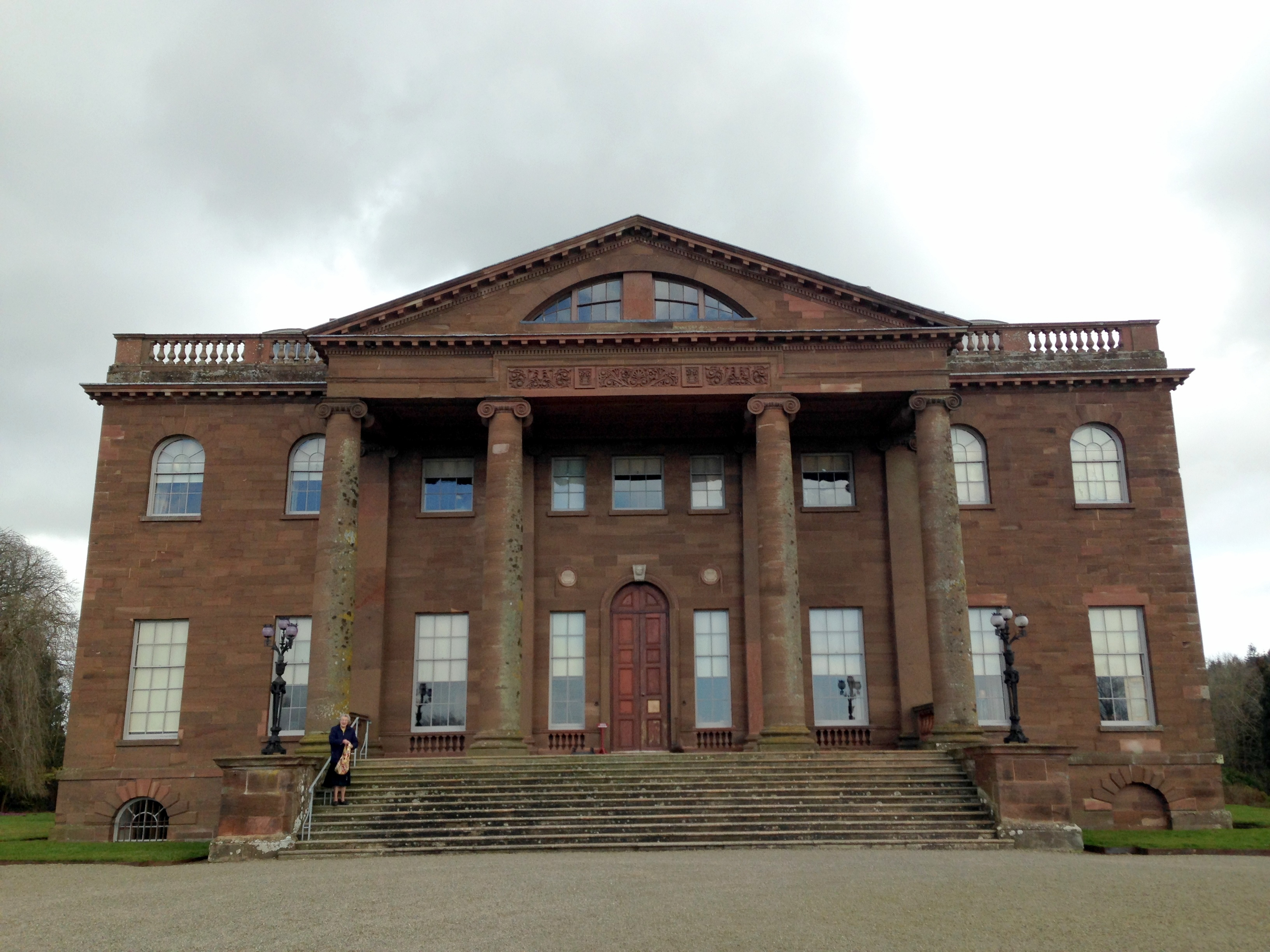 The severe facade of Berrington Hall (with grandmother for scale)