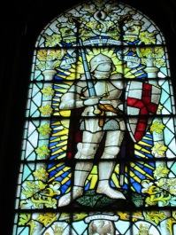 I rarely see a knight in stained glass in churches