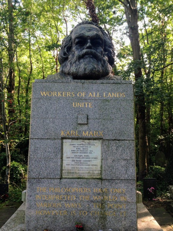 Karl Marx grave Highgate Cemetery London UK