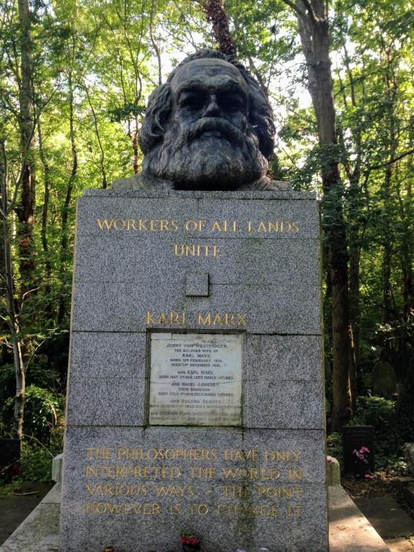 Karl Marx grave Highgate Cemetery London UK